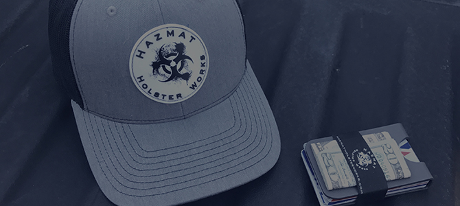 Hazmat Holster Works baseball cap and money clip